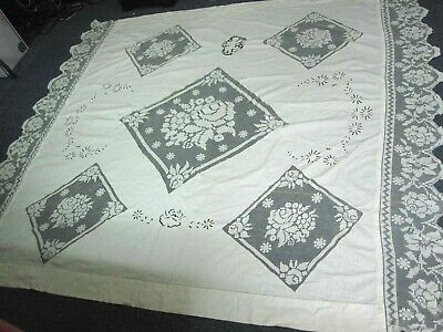 ANTIQUE WHITE COTTON COVERLET BEDSPREAD w LACE ROSE w CUTWORK EMBROIDERED CHERUB