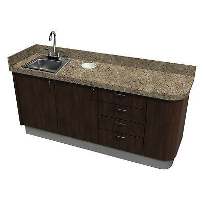 Signature Series Side Dental Cabinet w/ sink - Real Wood - Cafelle / C Cream Mel