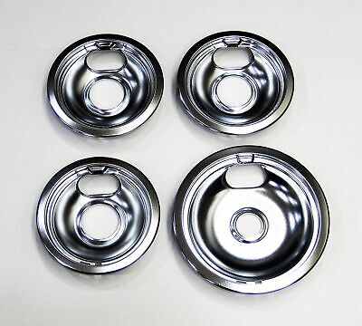 Range Burner Drip Pan Bowl Bib Set for GE 3 of WB32X107 1 of WB32X106 Chrome