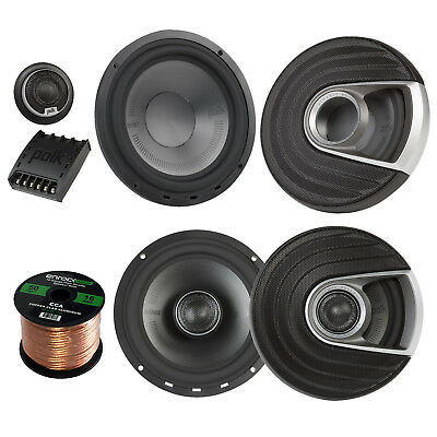 "2x Polk Marine 6.5"" 2 Way Speakers, 2x 375W 6.5"" Speaker, 16-G 50 Ft Wire"