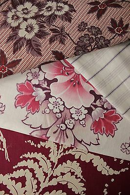 Vintage French fabrics antique material PROJECT BUNDLE 19th printed cotton