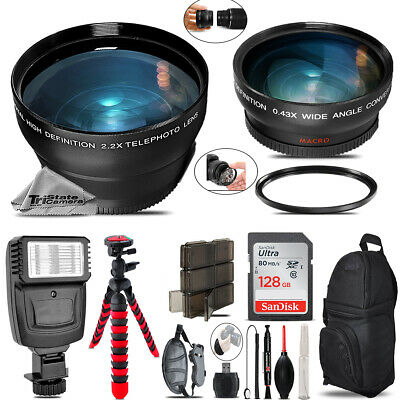 72mm Wide Angle & Telephoto Lens for Canon T6 T6i + Salve Flash + Tripod + 128GB