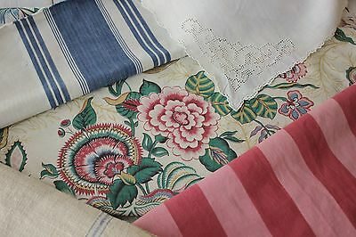Antique Vintage French fabric material red blues linen cloth old PROJECT BUNDLE