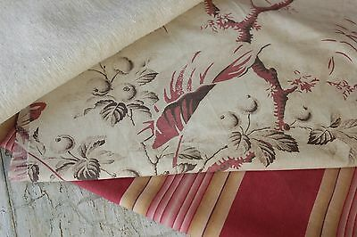 Antique French fabric vintage material PROJECT BUNDLE aged floral + ticking old