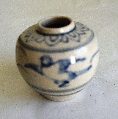 Hoi An - 15th Century - PERFECT Condition B/W Bird Vase/Jar, RARE Decoration 492
