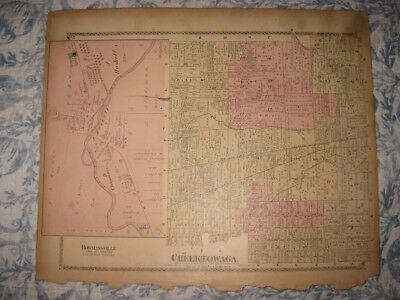 Antique 1880 Cheektowaga Bowmansville Lancaster Erie County New York Handclr Map