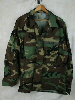 Genuine Us Army Issue Woodland Camo Bdu Shirt Coat Ripstop Large Short