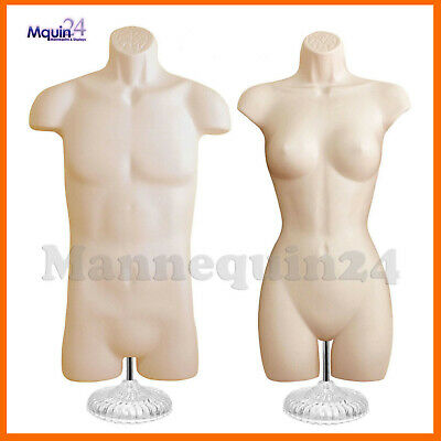 MALE & FEMALE MANNEQUIN TORSO SET - 2 Flesh Body Forms with 2 Stands & 2 Hangers