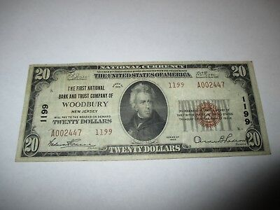$20 1929 Woodbury New Jersey NJ National Currency Bank Note Bill Ch. #1199 VF!