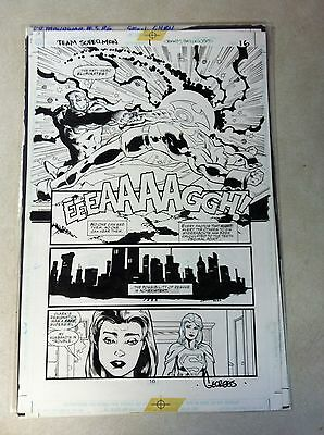 TEAM SUPERMAN #1 original comic art ANTI HERO KILLS SUPERMAN? SUPERGIRL!!!
