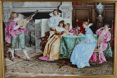 Guillaume Eng 1885 Signed Painted Porcelain Plaque Musician & Ladies