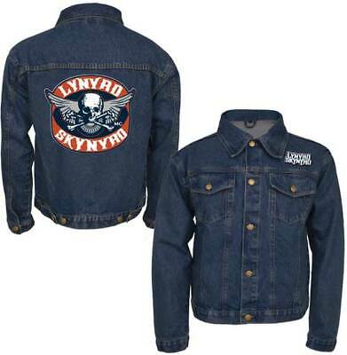 876160041a739 Lynyrd Skynyrd Biker Patch Music Rock Band Adult Mens Denim Jacket LS2207