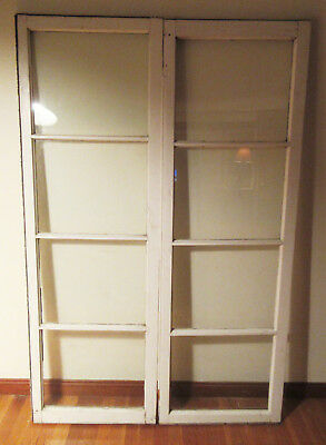 Pair Antique Casement French Doors Windows For Cabinet Pantry Cupboard 8 Panes