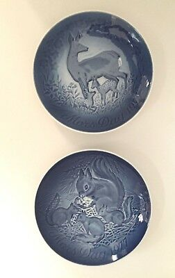 Lot of 2 B&G Porcelain Mothers Day Royal Blue Plate 1975 &1977 Royal Copenhagen