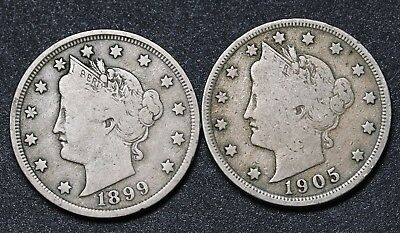 US 5 Cents Liberty Nickel Coins 1899 & 1905 KM# 112