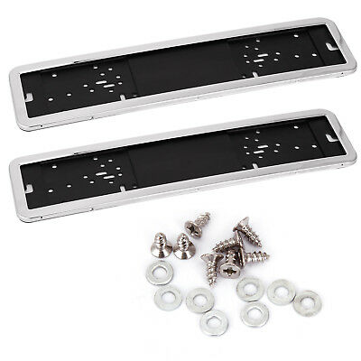 2 x Support de Plaque d'immatriculation Chrome Porte-plaque piece garage