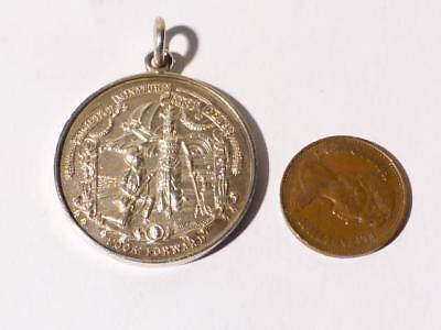 Antique 1936 Society Of Miniature Rifles Clubs LOOK FORWARD Silver Fob Medal #F7