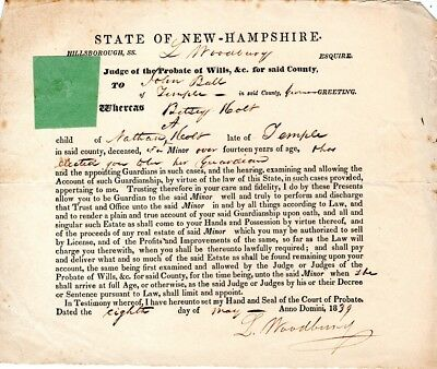 1839, Luke Woodbury, Candidate for Governor, signed writs as Judge of N.H.