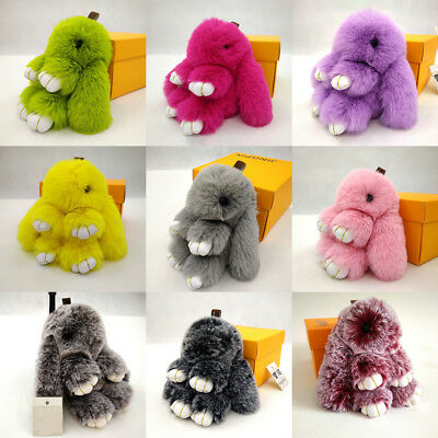 Lovely Fur Bunny Fluffy Rabbit Keyring Bag Charm Pendant Car Keychain Hanging