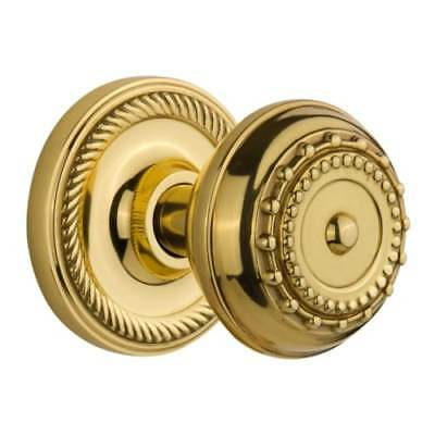 Nostalgic Warehouse 716877 Meadows Solid Brass Passage Knob Set with Rope Rose a
