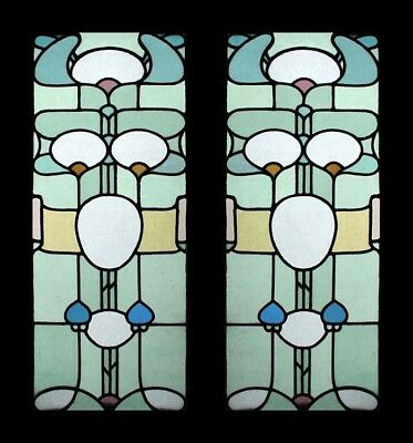 Stunning Rare Art Nouveau Pair English Antique Stained Glass Windows