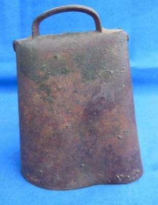 Old 1800's Primitve Goat Sheep Cow Bell Folded Iron Farm Livestock Hand Forged