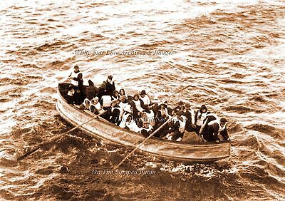 """Photo Sepia 5""""x 7"""": Titanic's Collapsible Lifeboat D Approaches Carpathia, 1912"""