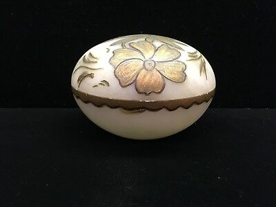 Antique Chinese Soapstone Box White with Gold Flowers c. 1880