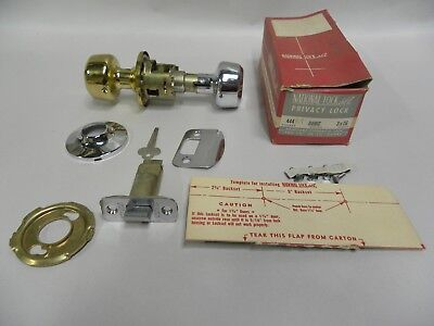 NOS Vtg Medalist National Lock Chrome & Brass Door Knob Bath Privacy Lockset (T)