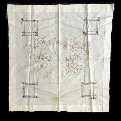 Antique Victorian Redwork Cutwork Embroidered Life Is Duty Table Cloth Topper