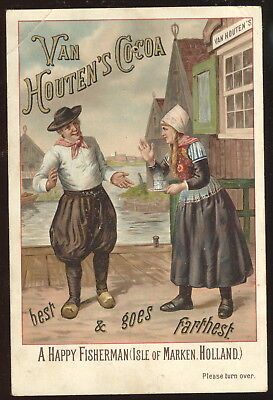 1890S Victorian Trade Card Advertising Van Houten's Cocoa, 'a Happy Fisherman'