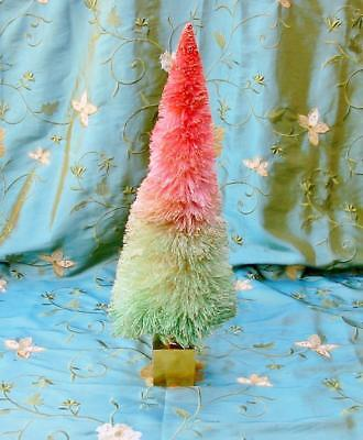 Glitterville Christmas XL Bottle Brush Tree 19 inch Ombre Pastel Pink to Green