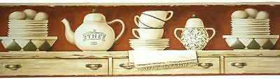 China Set On-Shelf Wallpaper Border Cup Saucer Teapot Country Kitchen Wall Decor
