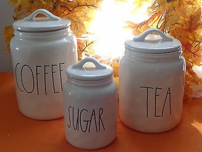 Rae Dunn Coffee Tea & Sugar Canister Jars Set 6 Pc New Holiday Gift Set