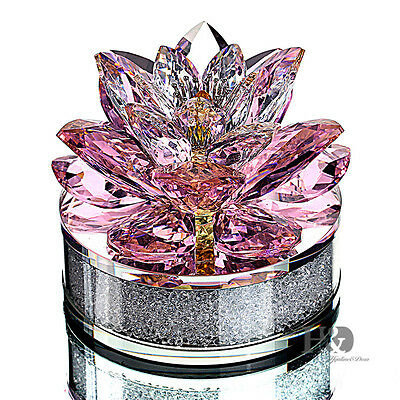 Pink Crystal Lotus Fill Diamonds Base Luxury Paperweight Feng shui Home Decor