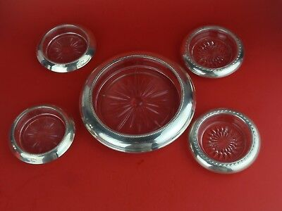 Frank M Whiting Sterling Silver Rimmed Coaster 1 Large 4 Small