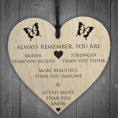 You Are Braver Stronger Smarter & Beautiful Wooden Hanging Heart Friends Plaque