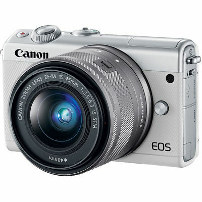 Canon EOS M100 Mirrorless Digital Camera with 15-45mm Lens White UU