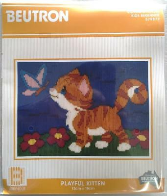Playful Kitten Cat Beutron Long Stitch Kit Longstitch Suit Beginner 13Cm X 18Cm