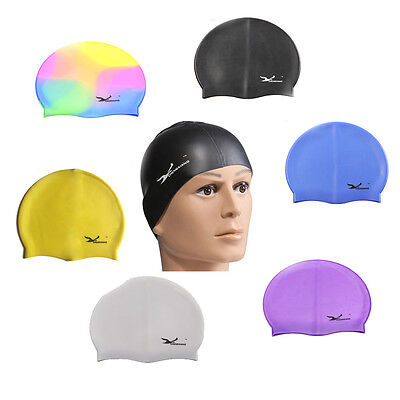 Solid Latex Swimming Swim Cap Hat Unisex Water UV Protection Flexible Top Sale