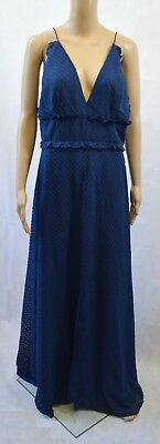 Bnwt Jarlo V-Front Maxi Dress With Frill Detail & Centre Split Navy - 14 (R184)