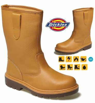 Mens Dickies Waterproof Leather Safety Rigger Steel Toe Cap Pull On Work Boots