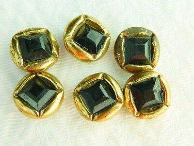 LOT of 6 matching VINTAGE ANTIQUE BUTTONS Square Glass bound by Metal