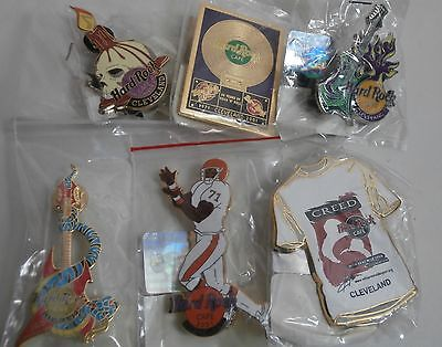 6 Hard Rock Cafe Pins Cleveland Halloween, Browns, Tattoo, Creed, Record & 3rd