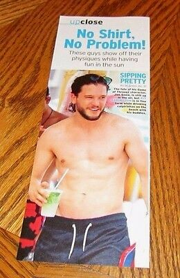 Shirtless KIT HARINGTON 4X10 PINUP Clipping Male Game Of Thrones Star