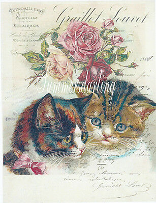 Cats On Antique Roses And French Script Collage*two Kittens*fabric Block*1-8X10