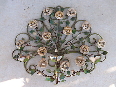 Vintage Wrought Iron Rose 3-Stick Candle Wall Hanger [WH]