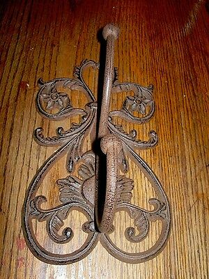 Replica CAST IRON-Large  French Scroll Double Wall Coat & Hat Hook Rustic Brown