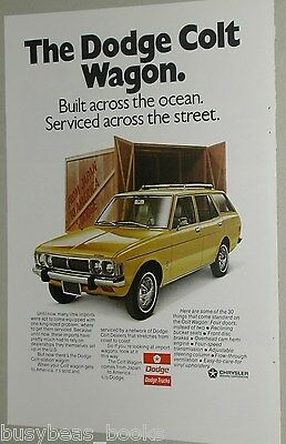 1973 Dodge ad, Colt wagon, shipping crate from Japan