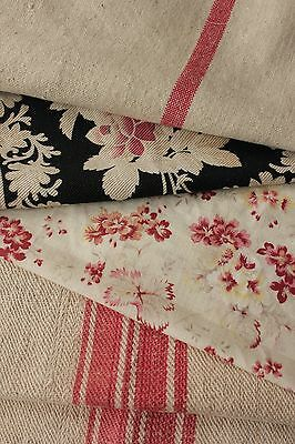 Vintage French fabrics antique material PROJECT BUNDLE black pink LOVELY